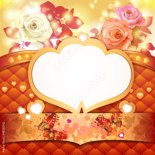 Valentine's day background with hearts and roses