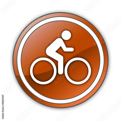 "Orange Glossy Button ""Bicycle Trail"""
