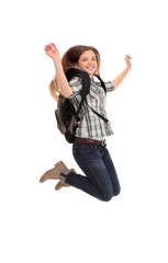 female student jumping of success isolated over a white