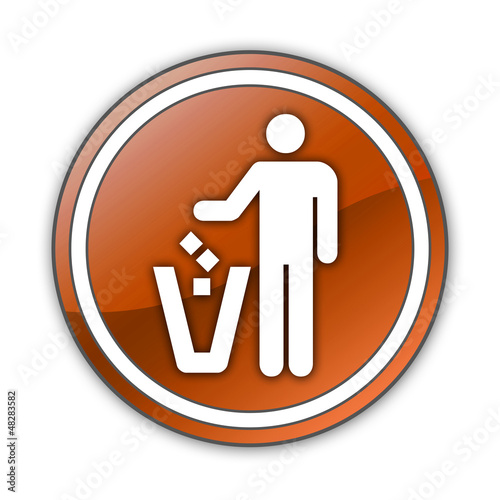 "Orange Glossy Button ""Litter Container"""