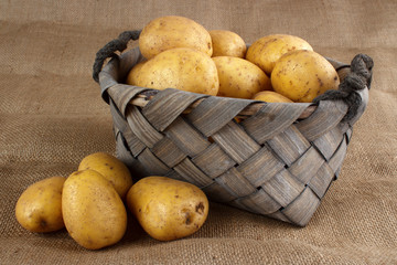 Basket of washed fresh potatoes