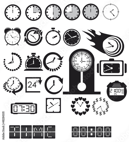 Clocks, time icons set. Vector EPS8