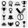 Vector black trophy cup and awards icons black set.