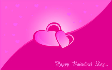 Happy Valentine´s Day Card Vector . Pink hearts .