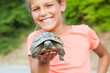 young girl and turtle