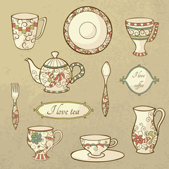 Retro set of dishware