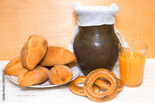 Traditional pastries and bread  beverage