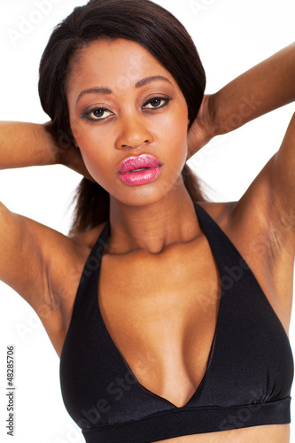 young african american female beauty closeup