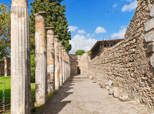 View of Pompeii, a ruined Roman city. Italy