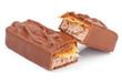 Leinwandbild Motiv Closeup of chocolate bar isolated on white