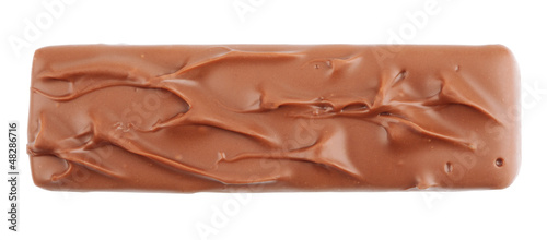 Closeup of chocolate bar isolated on white with clipping path