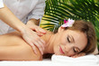 beautiful woman in spa salon  getting massage,