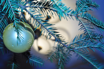 Original New Year's background with the image of blue Christmas
