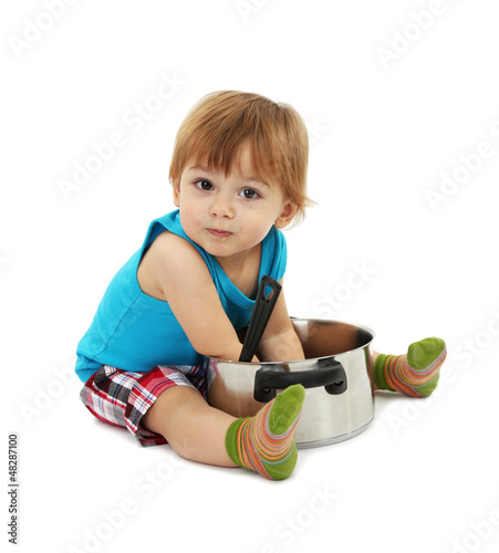 cute little boy with casserole, isolated on white
