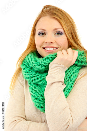 Young beautiful woman wearing winter clothing