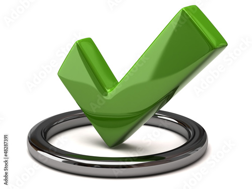 Tick icon - green tick mark in silver circle, 3d