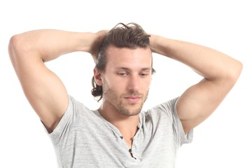 Man worried with hands in his head