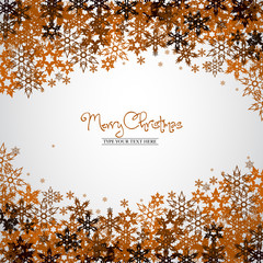 Gold snowflakes - Merry Christmas concept - vector background