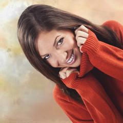 Frau mit kuscheligem Pullover texturiert