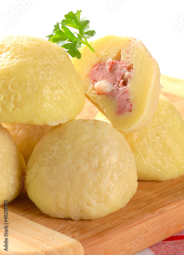 Meat stuffed potato dumplings