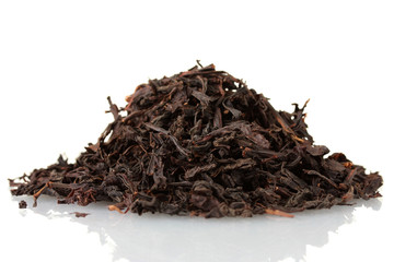 aromatic black dry tea, isolated on white