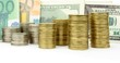 Coins, euro and dollar banknotes , money background