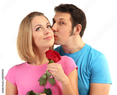 Loving couple with rose isolated on white