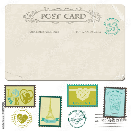 Vintage Love Postcard and Postage Stamps-for wedding design