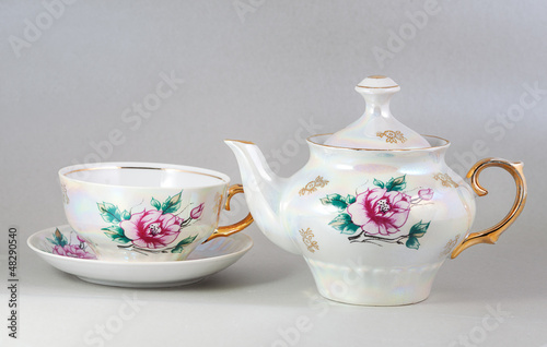 Antique floral porcelain tea pot and cup