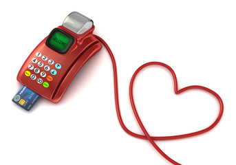 pos machine and heart symbol