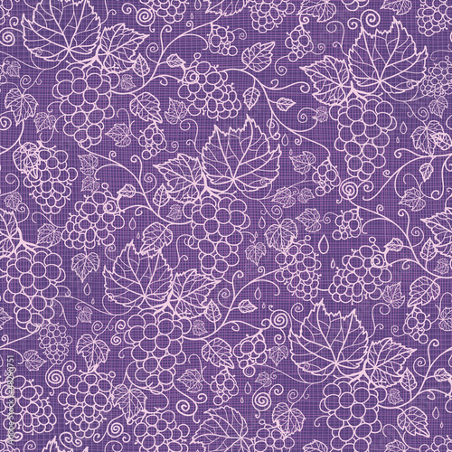 Vector lace grape vines seamless pattern background with hand