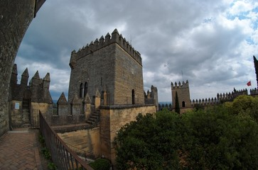Fisheye view of Spanish  medieval castle on a cloudy day