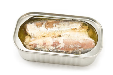 Sardines in opened tin can