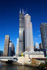 Chicago's urban skyscrapers in financial district, IL, USA