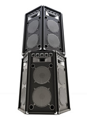 Large audio tower speakers on a white background