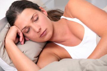 Young woman deeply asleep