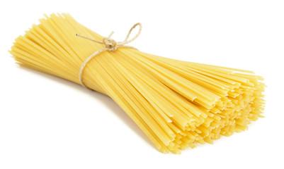 Heap of linguine pasta isolated on white background