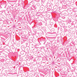Vector love flowers seamless pattern background with hand drawn