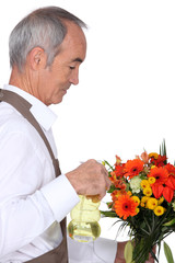 Man spraying flowers