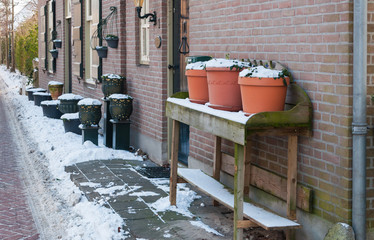 Dutch facade in winter