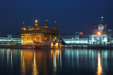 Golden Temple at night - heart of Sikh religion, Amritsar,India