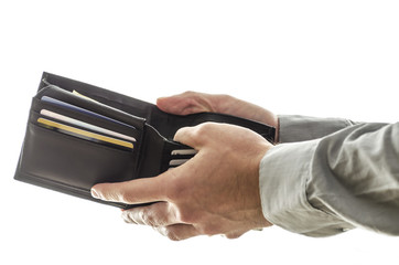 A man opening his wallet