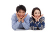 Young Asian couple  isolated on white background.