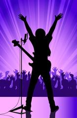 rock musician on a scene
