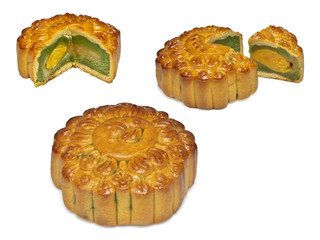 Traditional vietnamese cake with egg filling on white