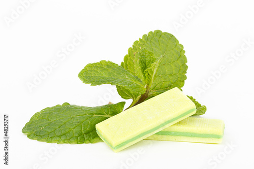 Bubble gum with mint on white background