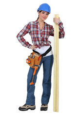 Cute carpenter posing.