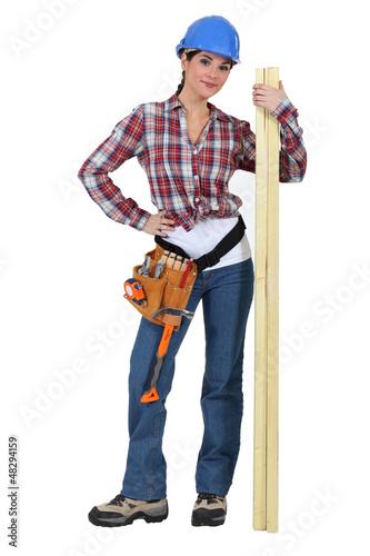Cute carpenter posing.
