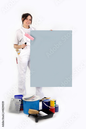 Decorator with a board left blank for your message