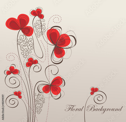 Retro floral background, vector illustration